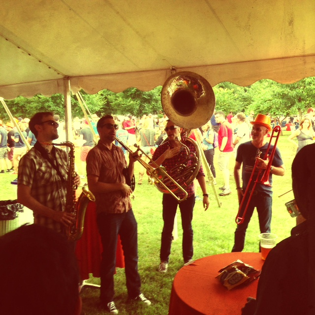 The band Half Brass, which has played the past three Hot Chicken fests, brought the beer tent down with its N'awlins rock and jazz.